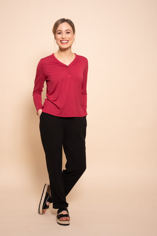 Petite Plain Red Long Sleeve Top