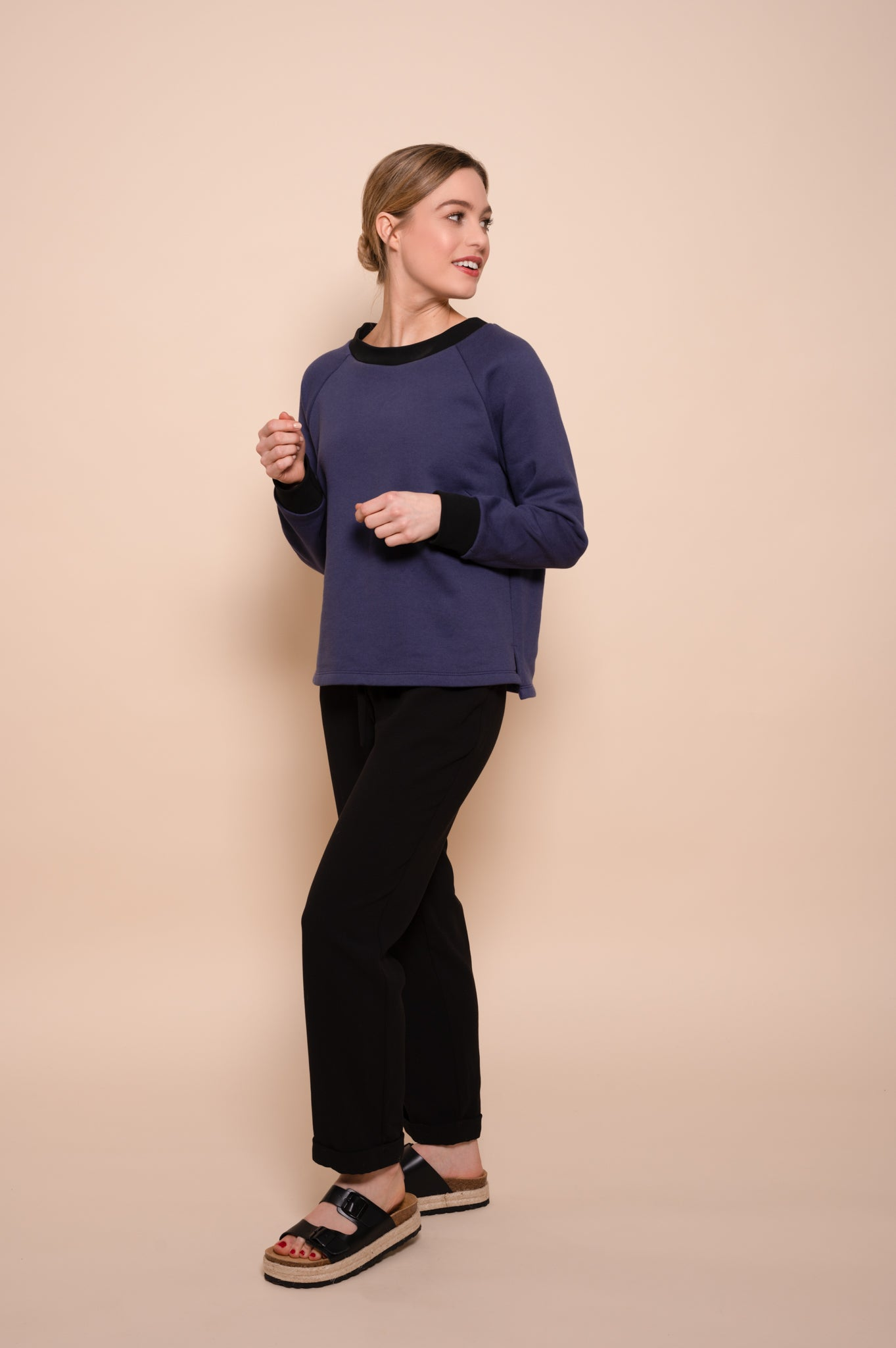 Petite Washed Blue Organic Cotton Jersey Fleece Back Sweatshirt