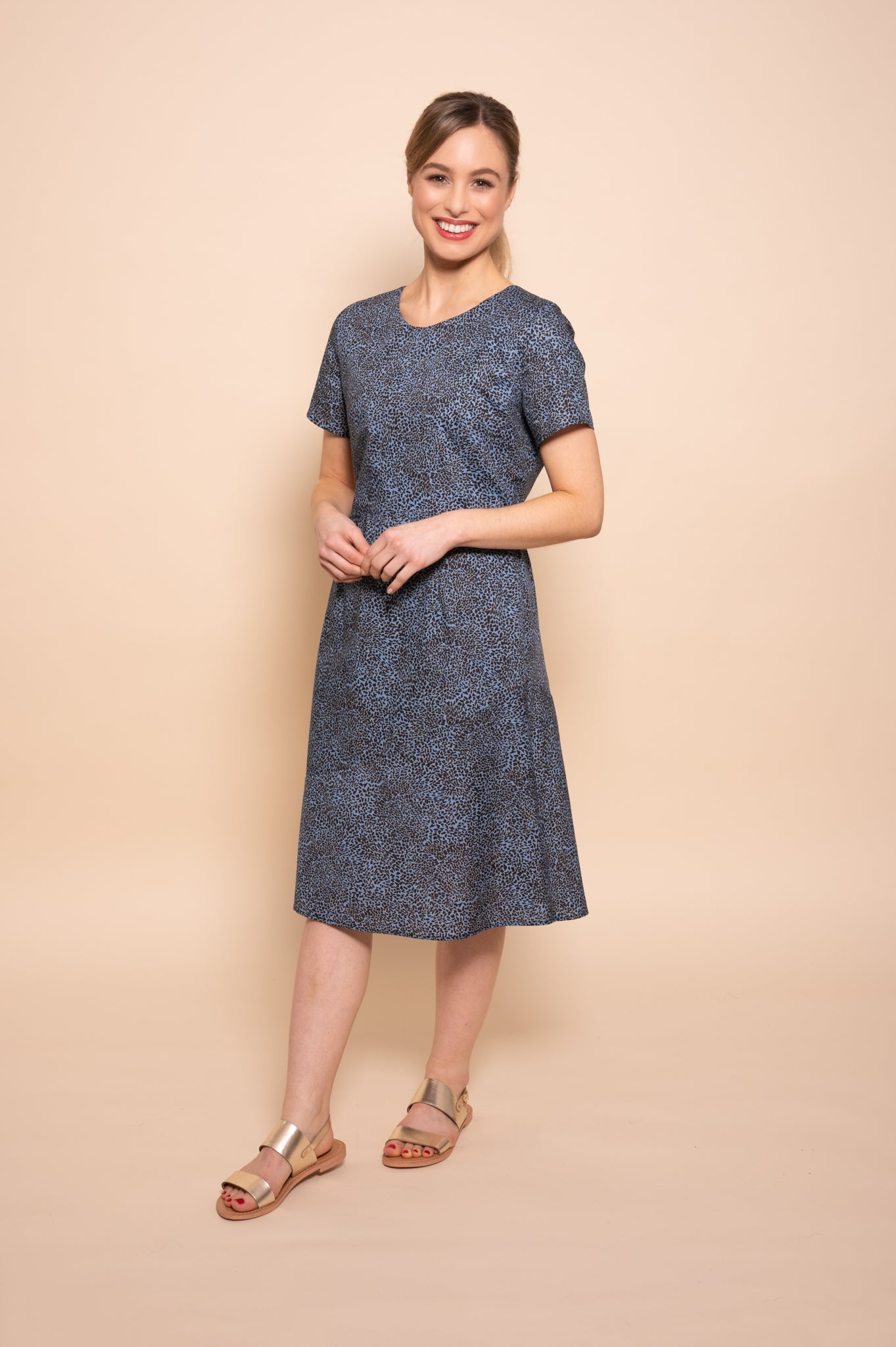 Petite Delph Blue Abstract Leopard Print Cotton Poplin Summer Dress