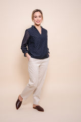 Petite Navy and White Polka Dot Silk Mix Blouse