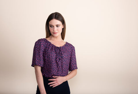 Petite Gathered Neck Top - Jennifer-Anne