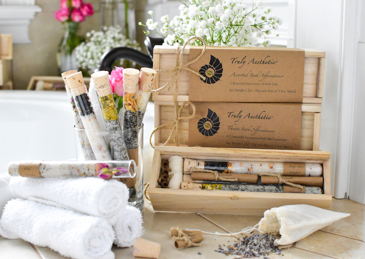 Truly Aesthetic Assorted Bath Affirmations Bath Salts Tubes Gift Box Sets in bath tub