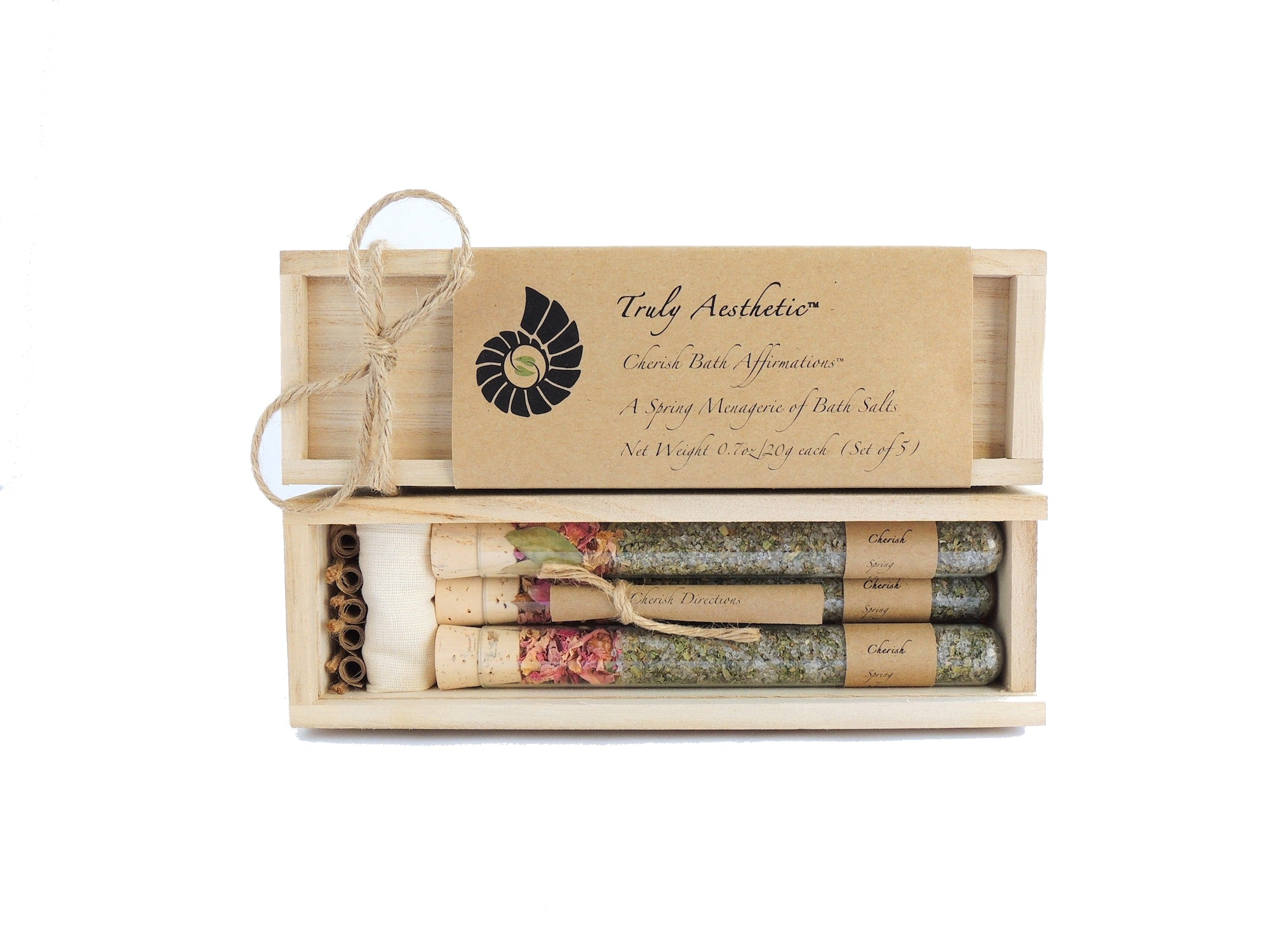 Truly Aesthetic Cherish Spring Petite Bath Affirmations Bath Salts Gift Box Set Packaging