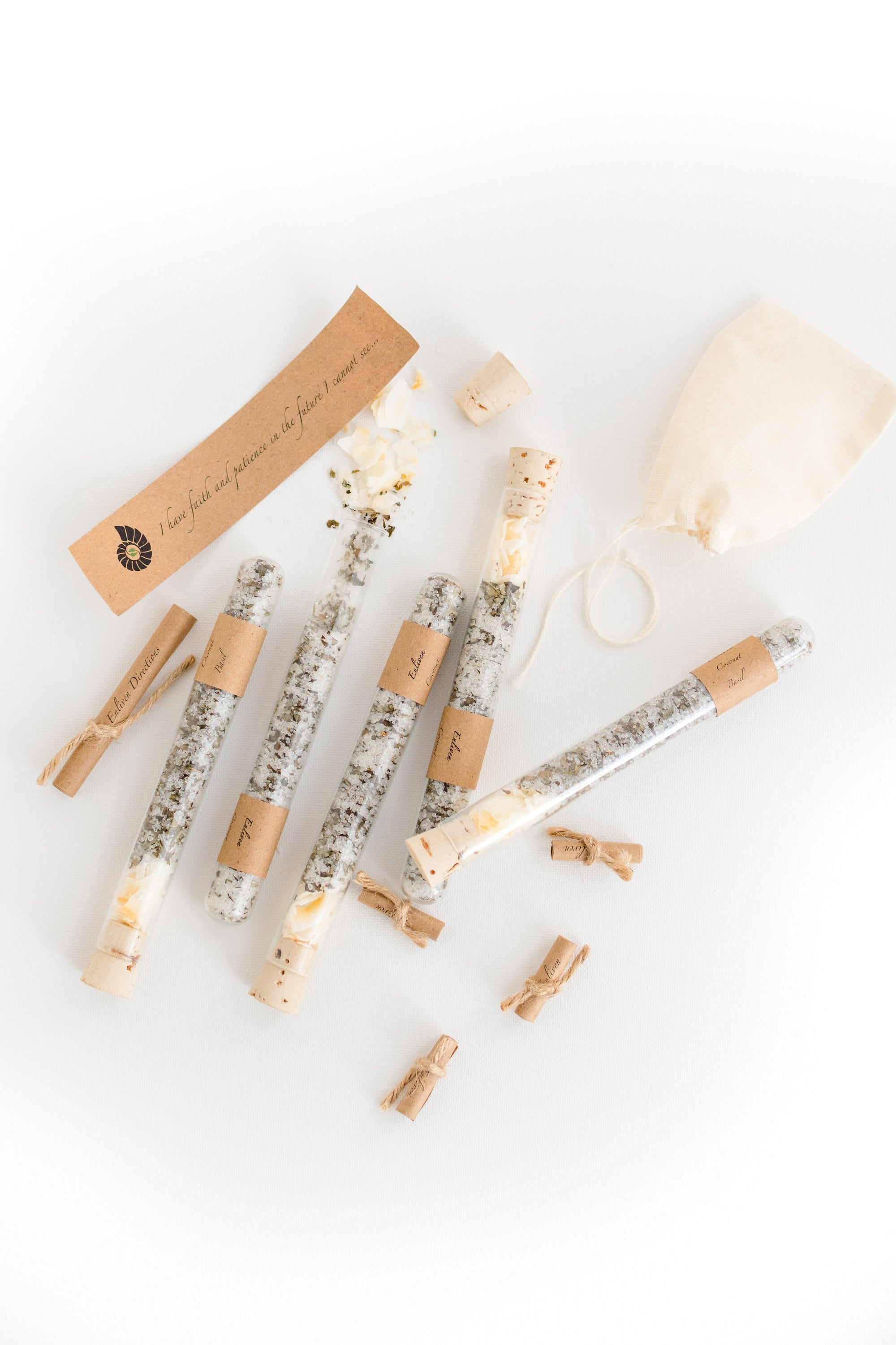 Truly Aesthetic Enliven Coconut Basil Bath Affirmations Bath Salt Tubes and Positive Affirmation