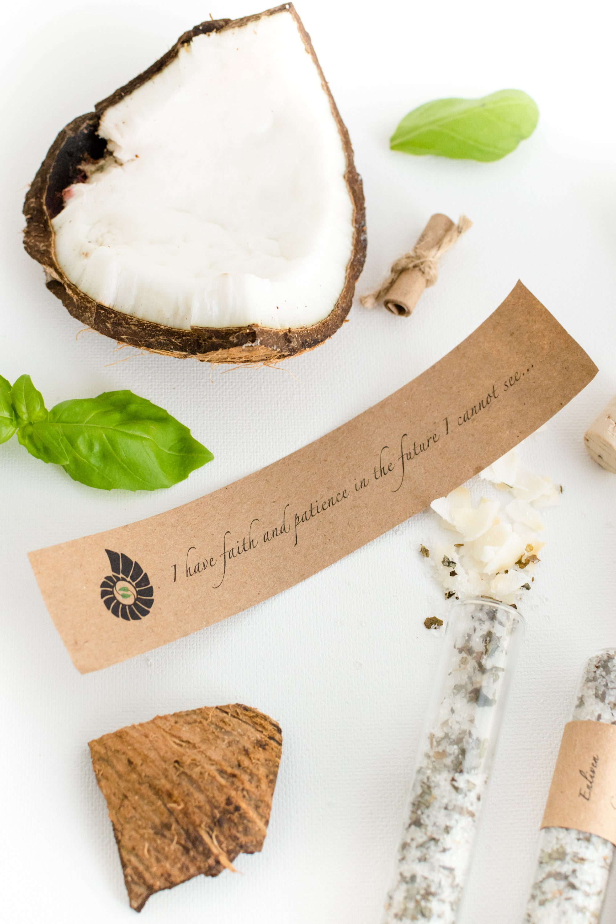 Truly Aesthetic Enliven Coconut Basil Bath Affirmations Bath Salts and Positive Affirmation Close Up