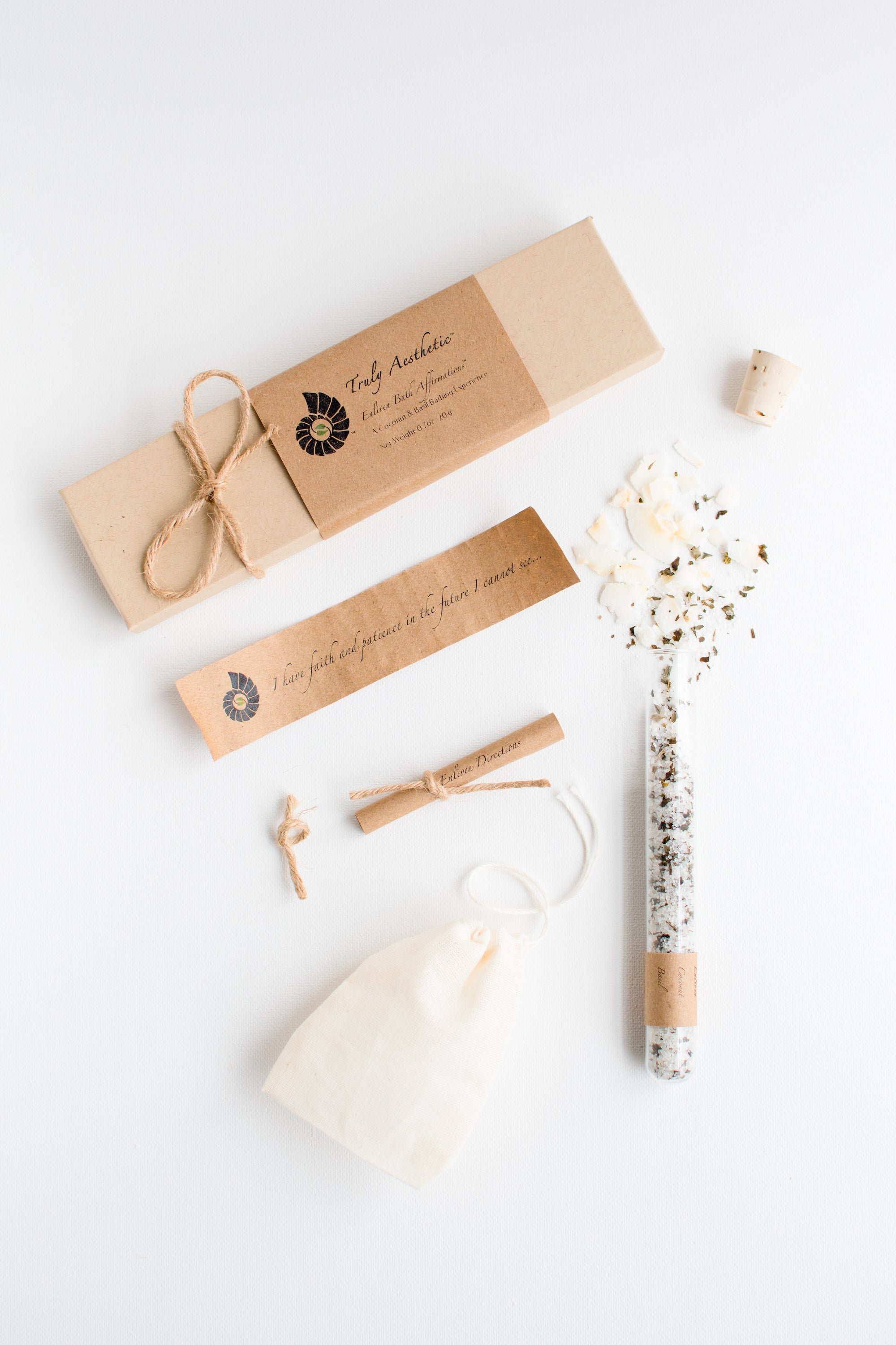 Truly Aesthetic Enliven Coconut Basil Petite Bath Affirmations Bath Salt Tube, Positive Affirmation and Gift Box Set Packaging