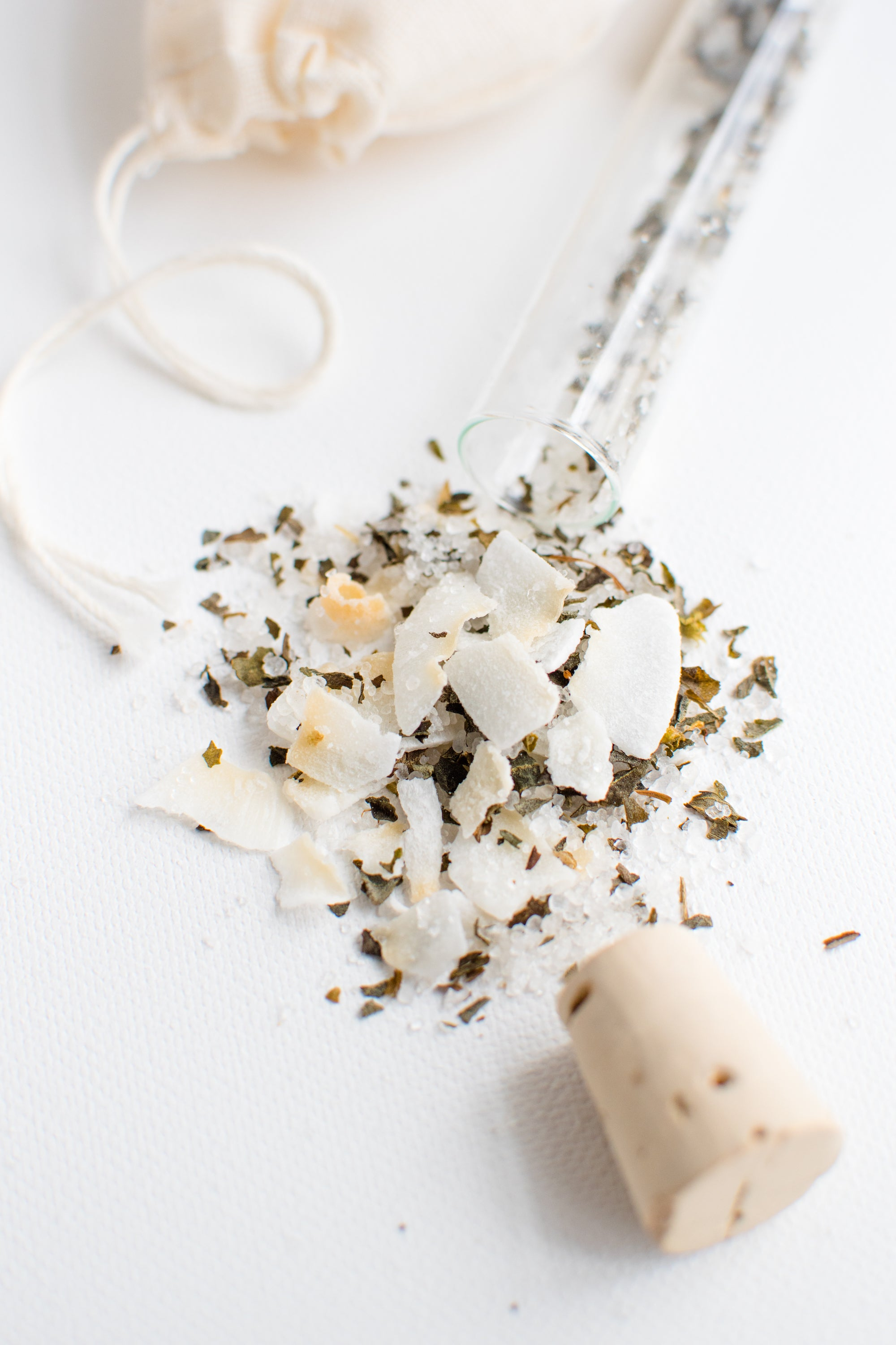 Truly Aesthetic Enliven Coconut Basil Petite Bath Affirmations Bath Salts Ingredients Close Up