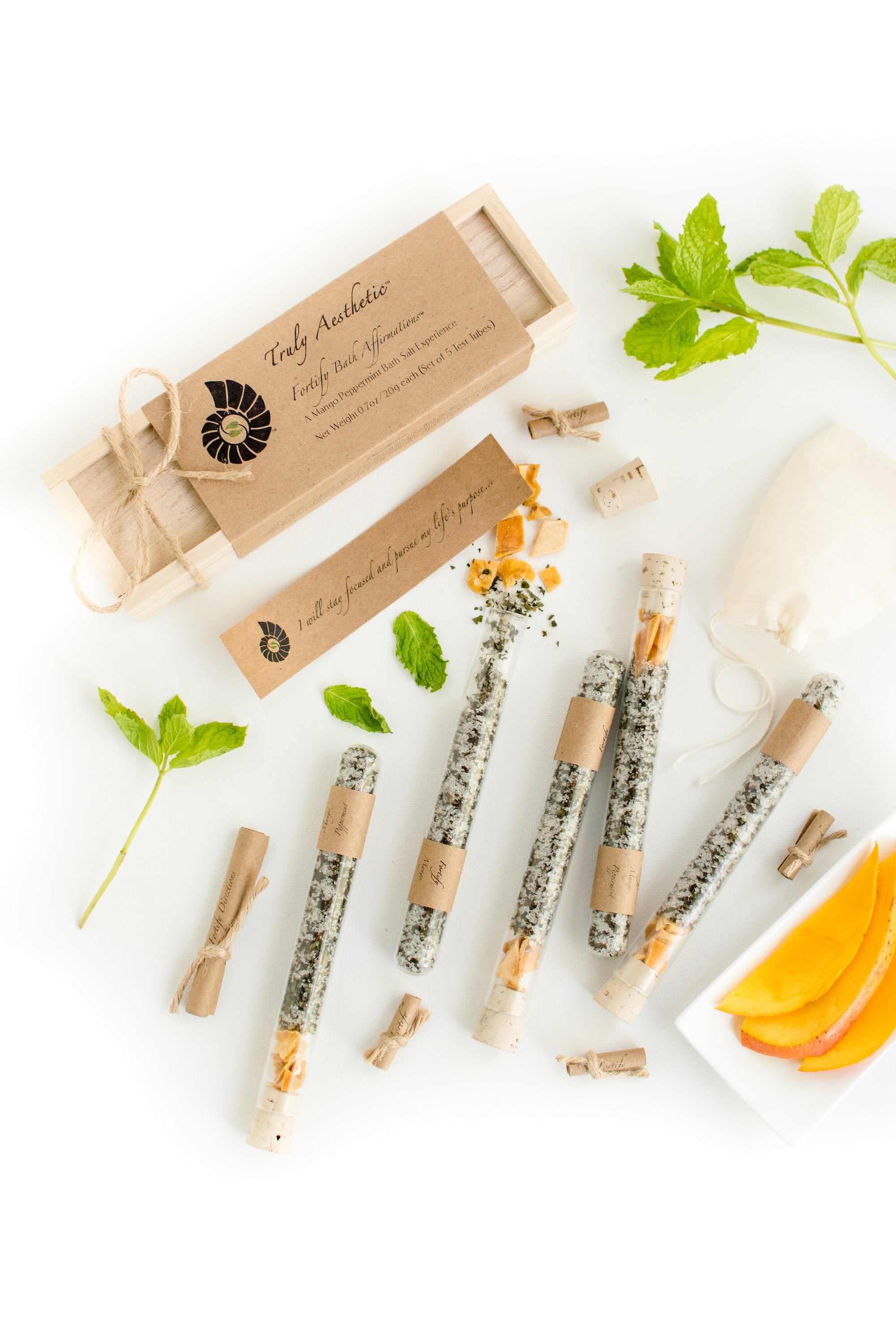 Truly Aesthetic Fortify Mango Peppermint Bath Affirmations Bath Salts in glass tubes