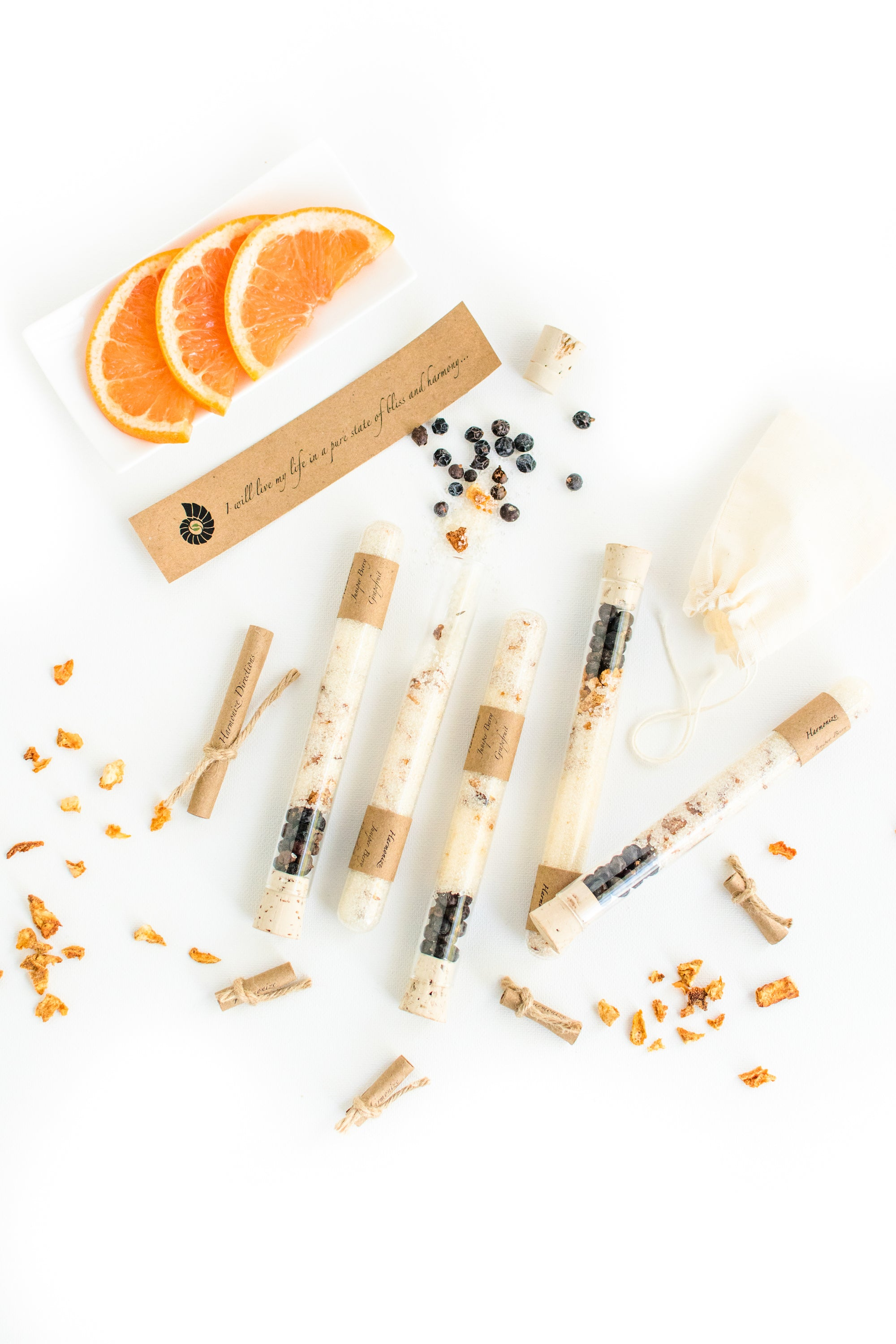 Truly Aesthetic Harmonize Juniper Berry Grapefruit Bath Affirmations Bath Salt Tubes, Positive Affirmation and Ingredients