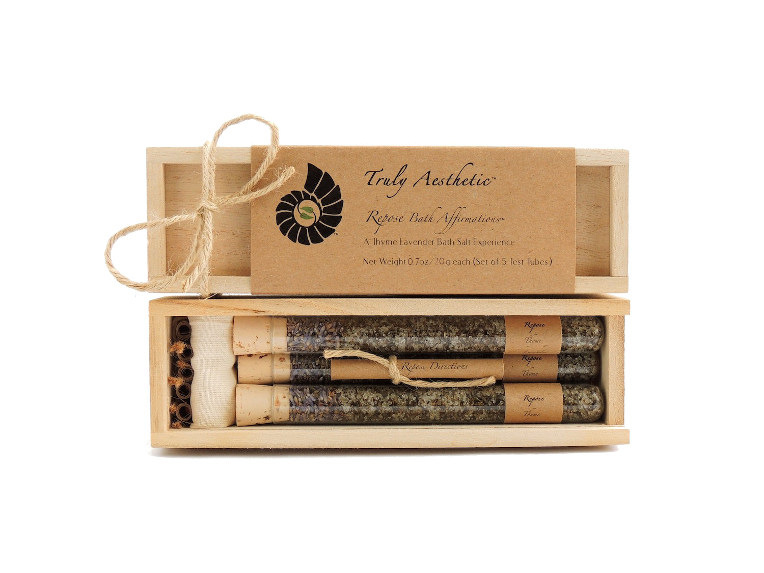 Truly Aesthetic Repose Thyme Lavender Bath Affirmations Bath Salts Gift Box Set Packaging