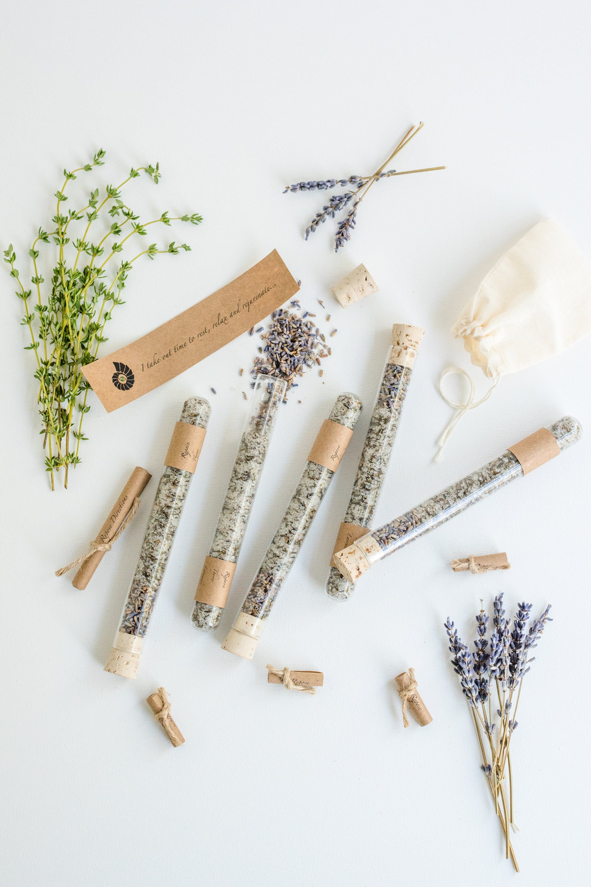 Truly Aesthetic Repose Thyme Lavender Bath Affirmations Bath Salt Tubes, Positive Affirmation and Ingredients
