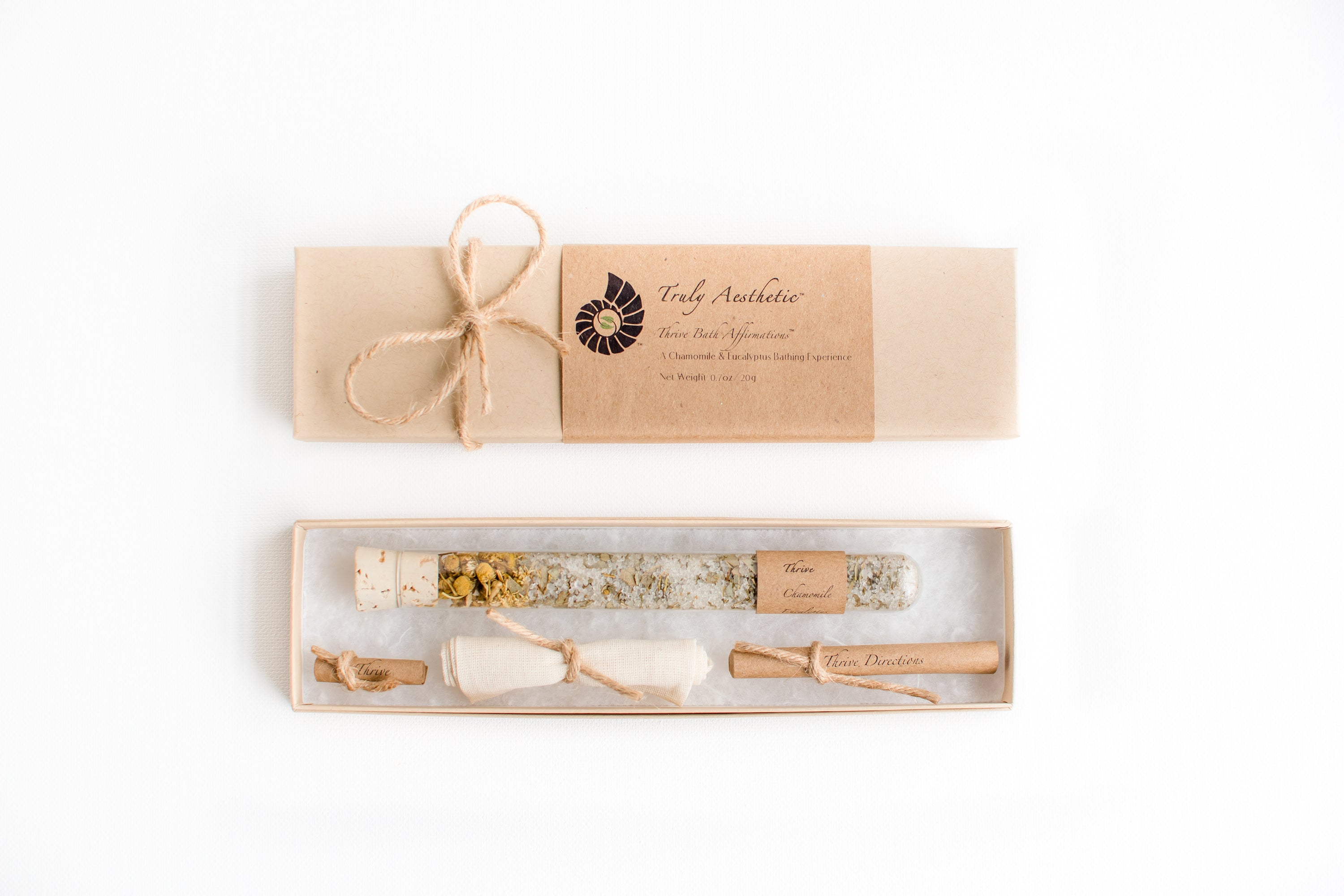 Truly Aesthetic Thrive Chamomile Eucalyptus Petite Bath Affirmations Bath Salts Gift Box Set Packaging