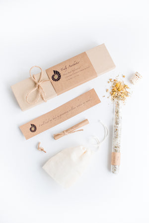 Truly Aesthetic Thrive Chamomile Eucalyptus Petite Bath Affirmations Bath Salt Tube, Positive Affirmation and Gift Box Set Packaging