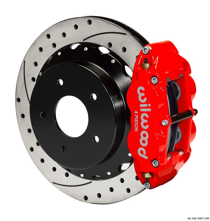 Wilwood - Forged Narrow Superlite 4R Big Brake Rear Slotted & Drilled Disc Brake Kit For OE Parking Brake (Red Calipers)