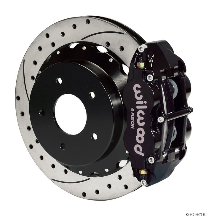 Wilwood - Forged Narrow Superlite 4R Big Brake Rear Slotted & Drilled Disc Brake Kit For OE Parking Brake (Black Calipers)