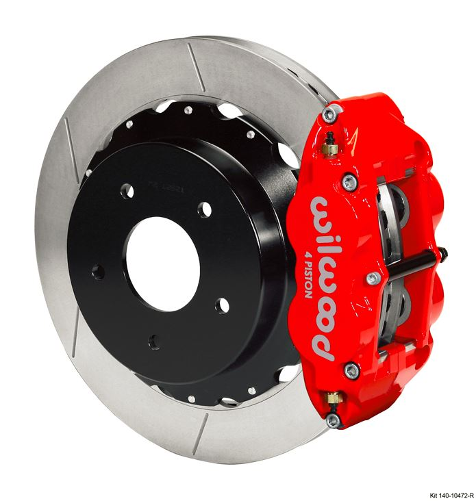 Wilwood - Forged Narrow Superlite 4R Big Brake Rear Slotted Disc Brake Kit For OE Parking Brake (Red Calipers)