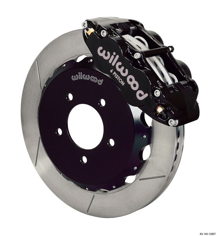 Wilwood - Forged Narrow Superlite 6R Big Brake Front Slotted Disc Brake Kit (Hat) Black Calipers w/Lines