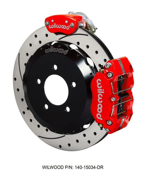 Wilwood - Dynapro Radial-MC4 Rear Parking Slotted & Drilled Disc Brake Kit (Red Caliper w/Lines & Cables)