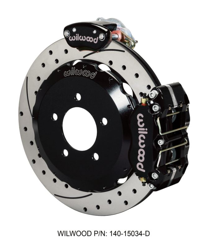 Wilwood - Dynapro Radial-MC4 Rear Parking Slotted & Drilled Disc Brake Kit (Black Caliper w/Lines & Cables)