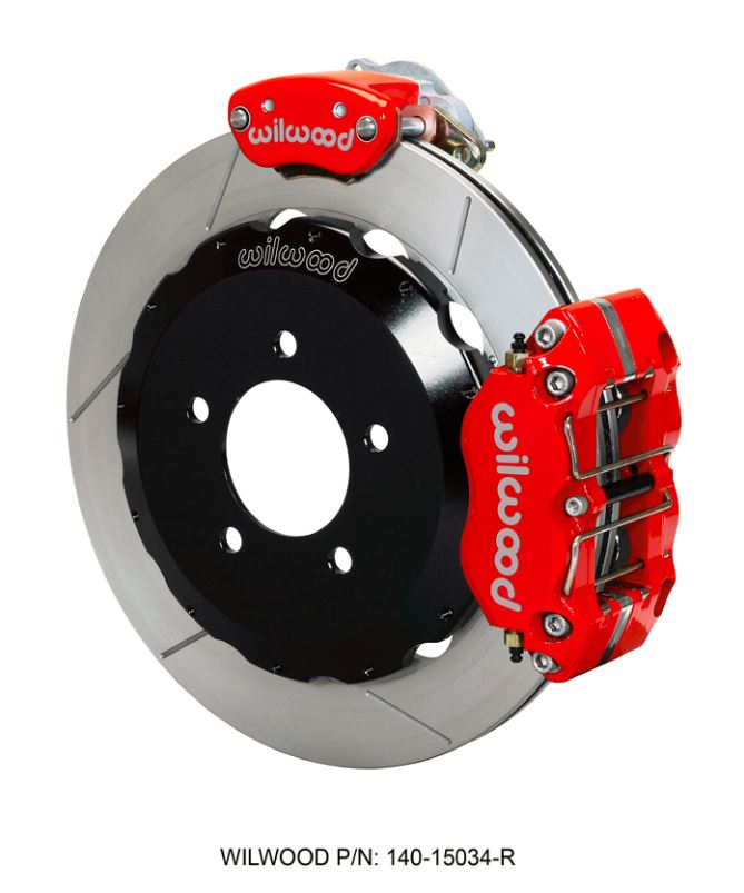 Wilwood - Dynapro Radial-MC4 Rear Parking Slotted Disc Brake Kit (Red Caliper w/Lines & Cables)