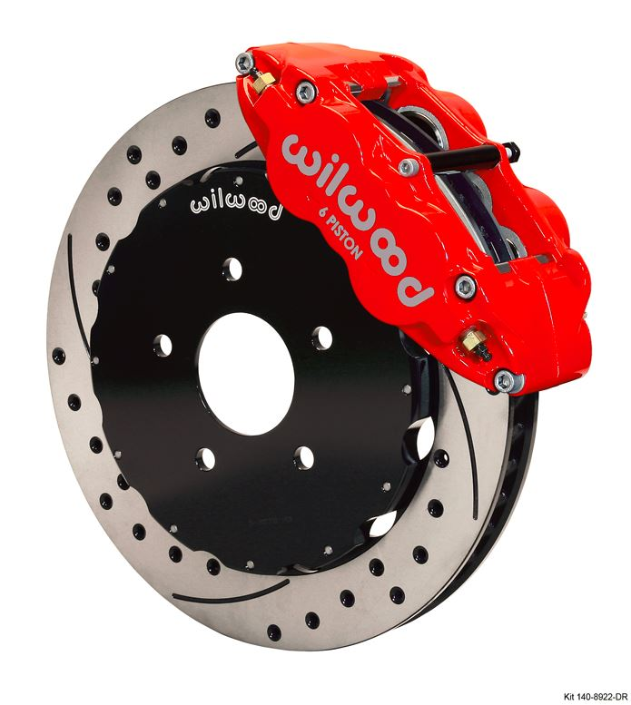 Wilwood - Forged Narrow Superlite 6R Big Brake Front Slotted & Drilled Disc Brake Kit (Hat) Red Calipers