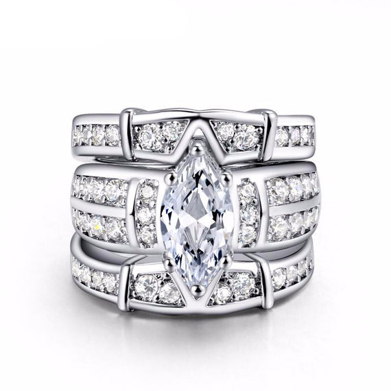 Classic Marquise Cubic Zirconia 3 Rings Set