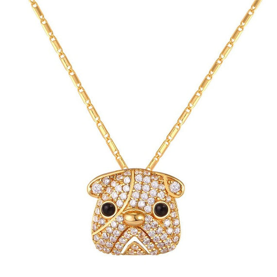 Full Crystal Cute Pug Dog Pendant Necklace