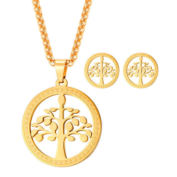 Stainless Steel Tree Of Life Pendant Necklace & Earrings