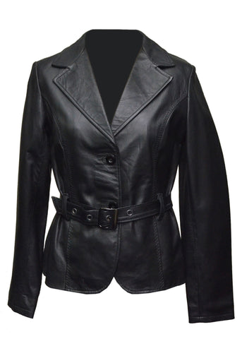 Soft Black Leather Belted Women Jacket