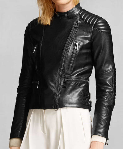 Asymmetrical Zipped Padded Womens Motorcycle Jacket - The Film Jackets