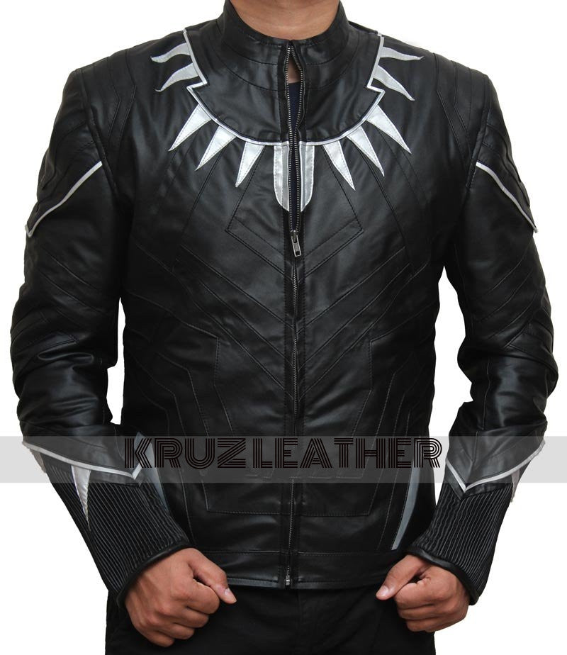 choose latest selected material sports shoes Black Panther Leather Jacket