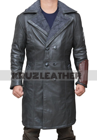 Jai Courtney Grey Leather Coat - The Film Jackets