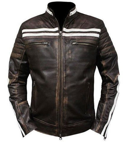 Vintage Biker Retro  Cafe Racer Moto Distressed Leather Jacket M52