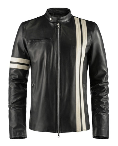 Driver Black Leather Jacket- Cafe racer Style