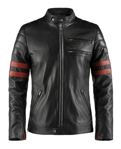 Cafe Racer Style Hybrid Black Leather Jacket