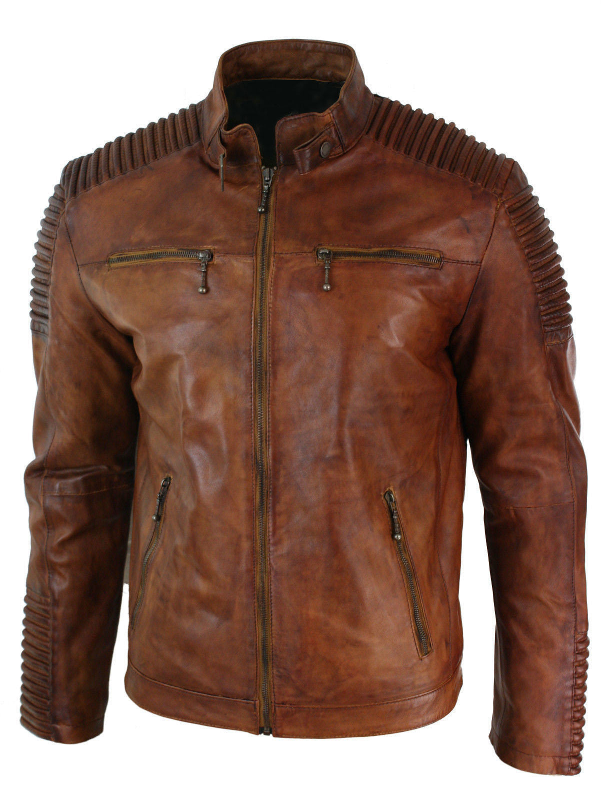 28e3400ae21 Vintage Motorcycle Distressed brown cafe racer leather jacket – The Film  Jackets