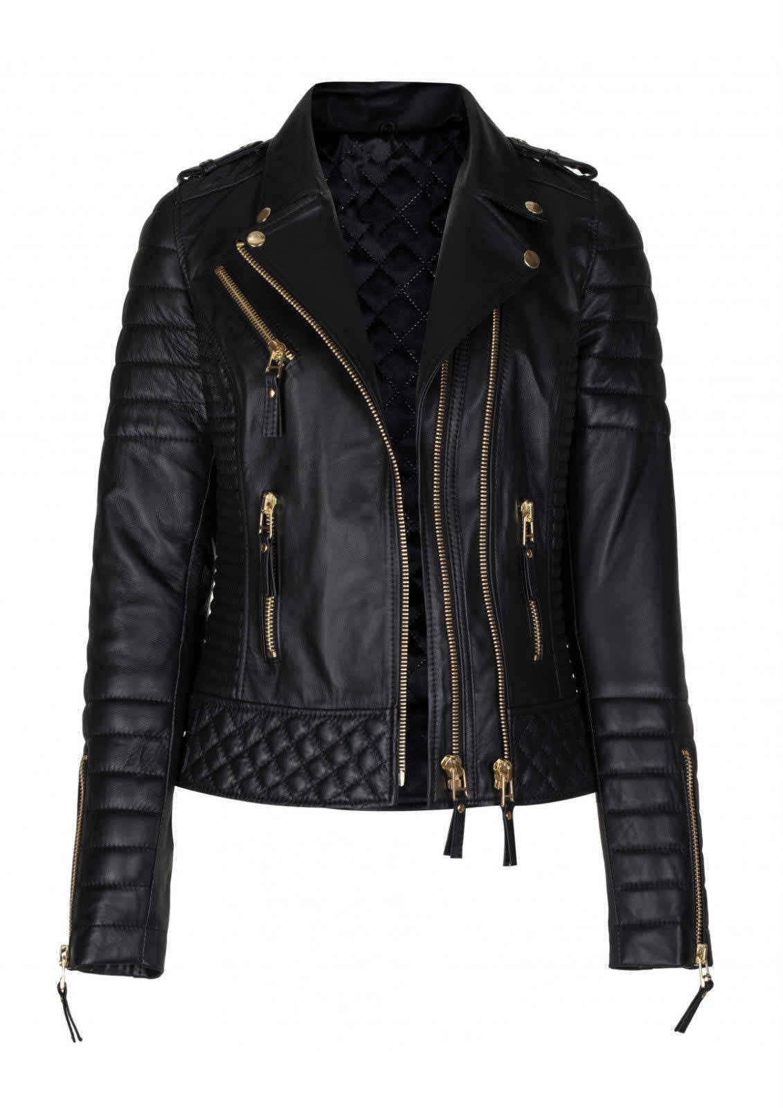 WOMENS KAY MICHAEL SLIM FIT REAL LEATHER JACKET QUILTED BLACK BIKER JACKET