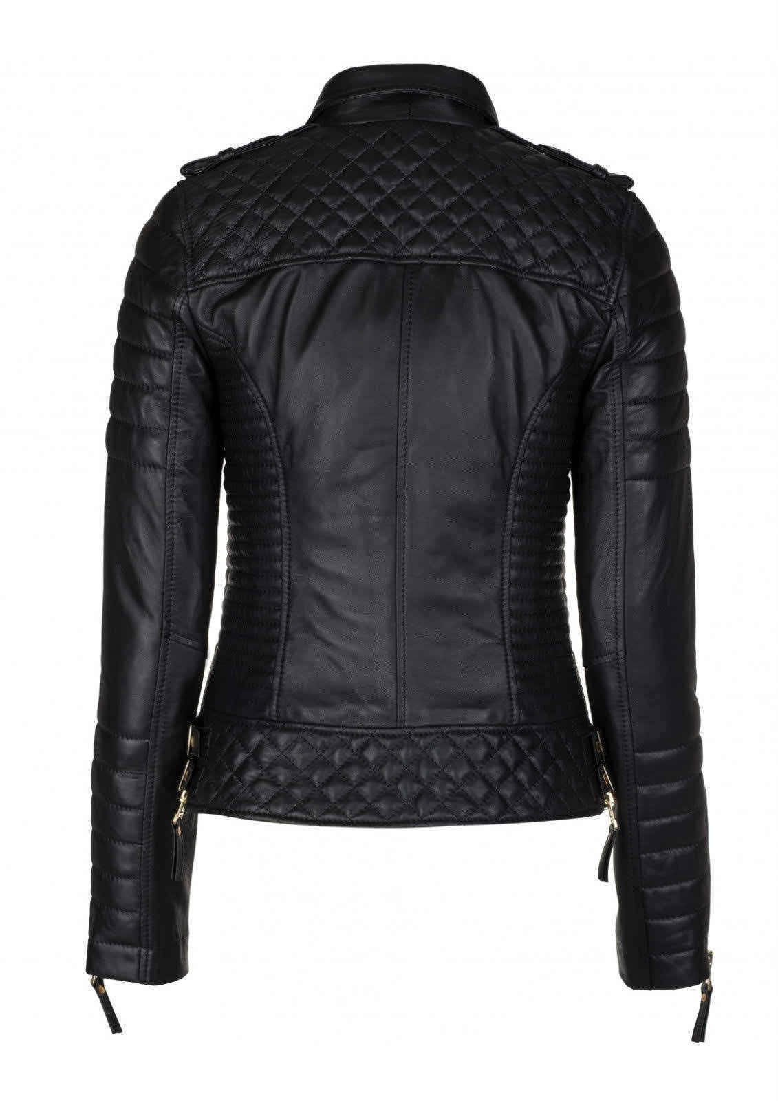 Womens Slim Fit Biker Jacket | Diamond Quilted Real
