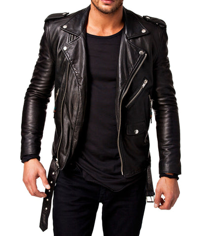 Slim Fit Black Biker Jacket