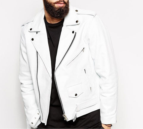 Slim Fit Biker Lambskin White Leather Jacket