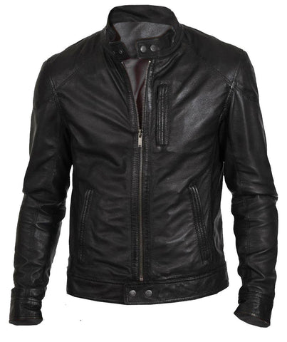 Men's Biker Hunt Black Motorcycle Leather Jacket