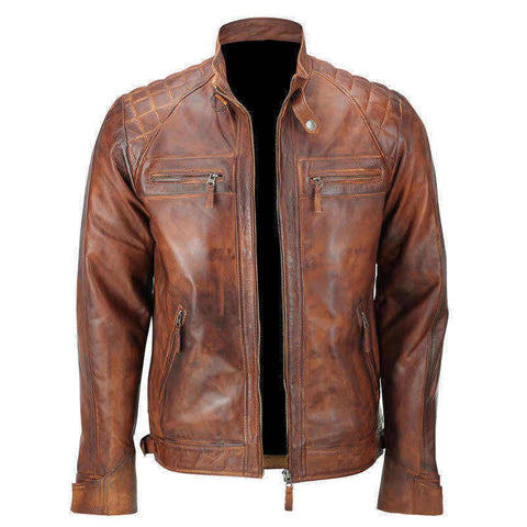 Classic Diamond Brown Distressed Leather Jacket - The Film Jackets