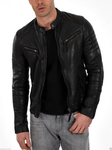 Men's Genuine Lambskin Leather Motorcycle Jacket