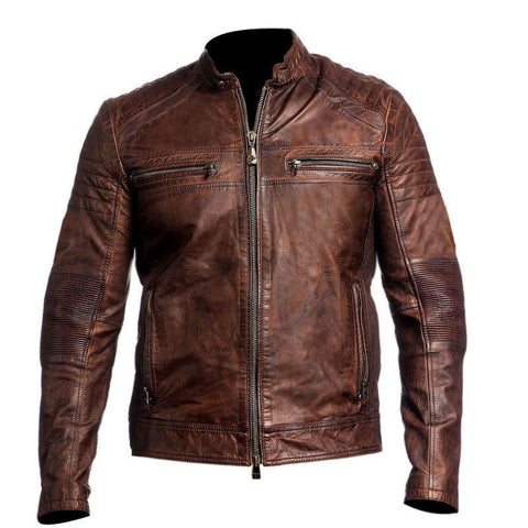 Men's Biker Vintage Cafe Racer Leather Jacket - The Film Jackets