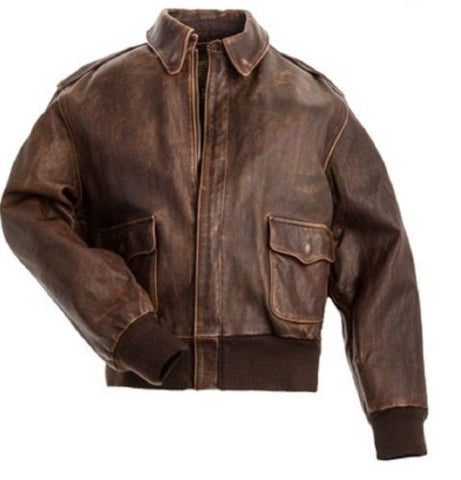 Aviator A-2 Flight Jacket Distressed Brown Bomber Jacket- Real Cowhide Leather