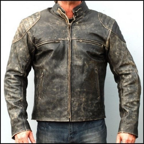 Distressed Hooligan Leather Jacket Bikers Casual Fashion Vintage - The Film Jackets