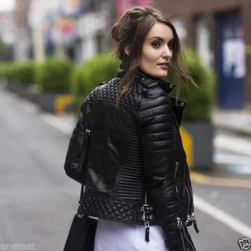 Women S Slim Fit Biker Jacket Diamond Quilted Real Leather The