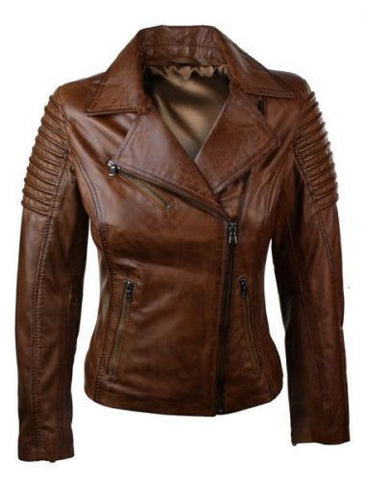Women Genuine Real Leather Slim Fit Waxed Brown Biker Jacket