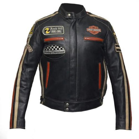 Harley Davidson Vintage Biker Genuine Cowhide Leather Jacket