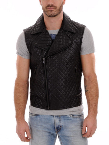 TFJ leather Genuine Lambskin Leather Vest Slim fit